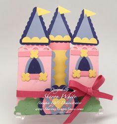 Punch Art Cards and Projects: Princess Castle Tri-Fold Tri Fold Cards, Flip Cards, Fancy Fold Cards, Folded Cards, Trifold Shutter Cards, Kids Punch, Punch Art Cards, Girl Birthday Cards, Happy Birthday