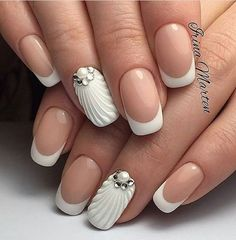 36 New French Manicure Designs To Modernize The Classic Mani - Nail Designs - French Manicure Nail Designs, 3d Nail Designs, French Nail Art, Pedicure Designs, Manicure E Pedicure, French Tip Nails, Simple Nail Designs, French Manicures, Nails French Design