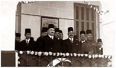 King Fouad I of Egypt with Mustafa el-Nahhas Pasha during a visit to the Khedive Isma'il School in 1928