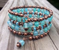 Aqua Faceted Agate and Antiqued Copper Memory Wire Wrap Bracelet
