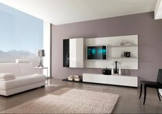 living room, Modern Living Room Ideas With Fur Rug And White Living Room Furniture Ideas With Black Chair And White Tv Cabinet Design For Living Room Interior Design Ideas With Bay Window With Nature View: Modern Living Room Ideas With Openness Nuance Living Room Interior, Interior Design Living Room, Living Room Designs, Living Room Furniture, Living Room Decor, Interior Paint, Luxury Interior, Living Rooms, Color Interior