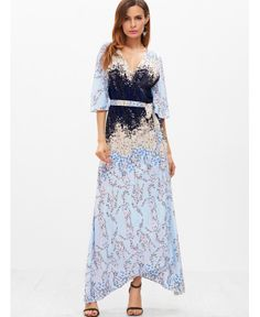 e792d1e86f8 SHEIN offers Blossom Print Elbow Flute Sleeve Belt Surplice Asymmetry Dress    more to fit your fashionable needs.