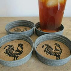 Mason Jar lid coasters...cut corkboard to fit & stamp any design