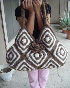 INSTANT DOWNLOAD - Crochet Bicolor Tote Bag Pattern