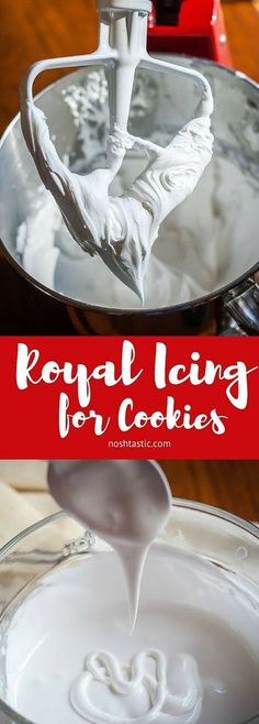 Easy Royal Icing Recipe for Cookie Decorating - 2 Ingredients! A Royal Icing recipe with only TWO INGREDIENTS! Perfect for cookie decorating, dries hard Baking Recipes, Cookie Recipes, Baking Hacks, Cookie Ideas, Baking Ideas, Kitchen Recipes, Christmas Cooking, Frosting Recipes, Icing Frosting