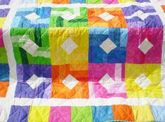BabyQuilt-Tropical colors-lap quilt-Crib quilt-Boy or girl quilt-Toddler quilt-Yellow-orange-pink-purple-green-aqua-TROPICAL SUNRISE