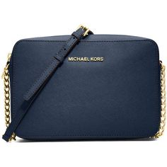 Michael Michael Kors Jet Set Travel Large Crossbody Bag (8.600 RUB) ❤ liked on Polyvore featuring bags, handbags, shoulder bags, blue pattern, crossbody purses, chain crossbody, cross body travel purse, crossbody travel handbags and blue crossbody
