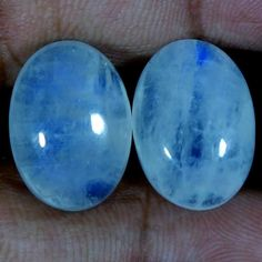32.95Ct Natural Rainbow Moonstone Matched Pair Oval Cabochon For Earring Jewelry #Handmade