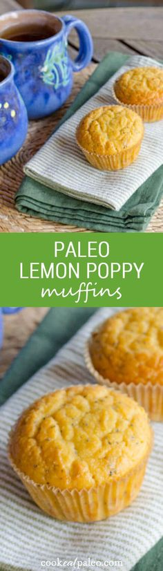 Lemon poppy paleo muffins are quick and easy gluten-free recipe. Just add everything to the food processor — the batter is ready in about five minutes.