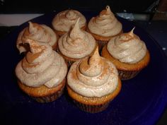 Snickerdoole Cupcakes! :)  Recipie:  •1 package Duncan Hines white cake mix   •1 cup 2% milk   •1 stick of butter, melted   •3 large eggs   •1 teaspoon vanilla extract   •1 tablespoon ground cinnamon    ~Frosing:  •1 stick butter   •3 3/4 cup confectioners sugar   •3-4 Tablespoons milk   •1 teaspoon vanilla extract   •1 Tablespoon ground cinnamon Yummy Treats, Sweet Treats, Yummy Food, 1 Stick Of Butter, Duncan Hines, White Cake Mixes, Yummy Cupcakes, Confectioners Sugar, Ground Cinnamon