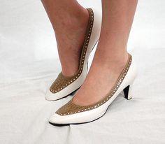 Vintage 60s pumps spectator heels white and tan by vintagerunway, $25.00