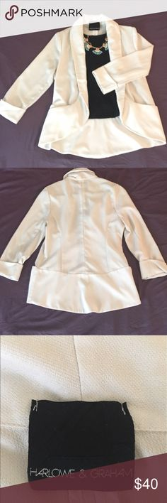 White Harlowe & Graham Blazer Stylish white blazer to pull any outfit together. Effortlessly drapes and has convenient pockets as well. Lightweight and hardly worn Harlowe & Graham Jackets & Coats Blazers