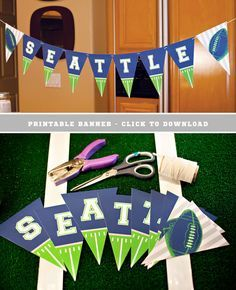 Big Game Party: Free Printable SEATTLE & NEW ENGLAND Banners + DIY Football Food Picks