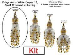 Fringe Me! - White Drapes 18, Spool Ornament or Earring Beading Kit at Sova-Enterprises.com