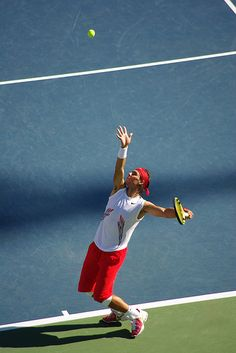 Rafael Nadal serving - US Open #tennis #USOpen