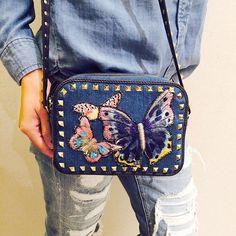 Denim on denim on denim. Handbag by @maisonvalentino #NMhandbags #neimanmarcus #valentino by neimanmarcus