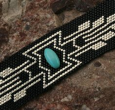 Turquoise+Stone++Black++Silver++Peyote+Beaded+by+TombstoneBeads,+$65.00