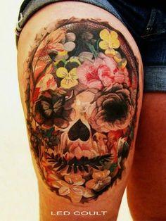 Sugar skull tattoo.Skull Tattoo Designs for fashion girls.