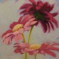 Darkest Daisy Oil on cradled wood 6  x 6 , painting by artist Diane Hoeptner