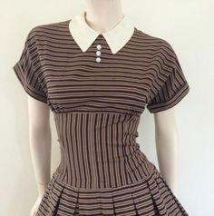 Round She Goes - Market Place - Stunning 50's Chocolate Striped Drop Waist Day Dress / Medium Large