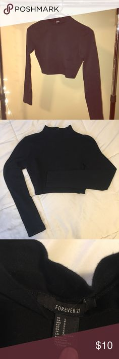 Cropped High Neck Shirt Long sleeve crop top with a high neck, from Forever 21 and size small! It is 96% cotton so it is not too stretchy and pretty tight! Definitely fits a small. Great condition, make me an offer & bundle to save! ♡ Forever 21 Tops Crop Tops