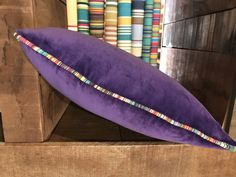 Purple Velvet Cushion piped all around with ANY of our beautiful striped fabrics. Velvet Cushions, Purple Velvet, Cotton Velvet, Striped Fabrics, Stripes, Beautiful, Color, Colour, Colors