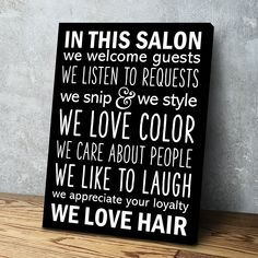 Salon Rules - Hair Salon Decor - Salon Owner Gift -  Wall Art Poster Canvas Wall Art Ready to Hang Various Sizes. - 1 Panel 24x18 / Gallery Wrap
