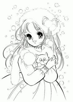 Manga girl with cat.