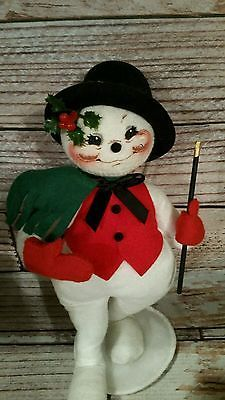 """Annalee 9"""" Dancing Snowman Made New Hampshire green scarf Christmas collectible"""