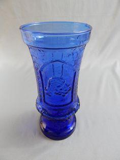 Gorgeous Vintage Cobalt Blue Glass Camelot Vase with Embossed Designs, King Arthur, Excalibur, Knight, Armor by SlyfieldandSime on Etsy