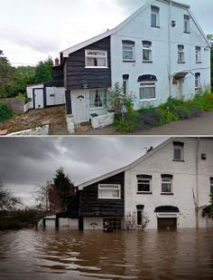 Willow House, East Lyng, Somerset. | 27 Astonishing Before-And-After Photos Of U.K. Flooding