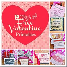 14 Days Of Free Valentine Printables. Use these every day for your kids lunches in February, or just use them for their Valentines on the big day. #valentinesday #freeprintable