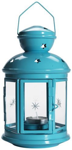 IKEA Rotera lantern for tealights. I wanted this in the turquoise color for the porch but I think I missed my chance. Boo.
