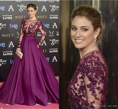 2016 New Premios Goya Zuhair Murad Evening Dresses Illusion Neckline Long Sleeves Applique Beaded Crystal Prom Dress Long Celebrity Gowns Online with $149.73/Piece on Yes_mrs's Store | DHgate.com