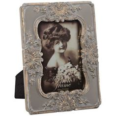 Fiona Vintage Blue Gray and Gold 4x6 Photo Frame -