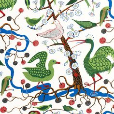 Josef Frank got the inspiration for this print from The Green Book of Birds by Frank G. The print was designed in 1943 - - Fabric Sample Gröna Fåglar, Linen Gröna Fåglar, Josef Frank Josef Frank, Peggy Guggenheim, Textiles, Collages, Teheran, Patterned Furniture, Textile Museum, Green Books, Fabric Samples