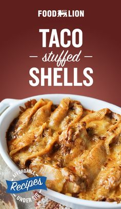 Top it off with your favorite veggies and enjoy this affordable family meal! Then you will certainly love taco stuffed shells with cream cheese! Top it off with your favorite veggies and enjoy this affordable family meal! Easy Casserole Recipes, Easy Dinner Recipes, Appetizer Recipes, Great Recipes, Easy Meals, Favorite Recipes, Appetizers, Mexican Food Recipes, Beef Recipes