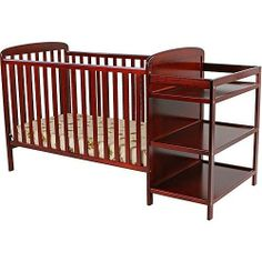Standard Cherry Baby Infant Convertible Crib Diaper Changing Table Combo Station