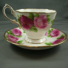 Royal Albert Old English Rose  -  Perfect Table Setting for Valentine's Day China~Old English Rose, one of my favorite china patterns. w/Gold Flatware, Battenburg Lace and Roses.