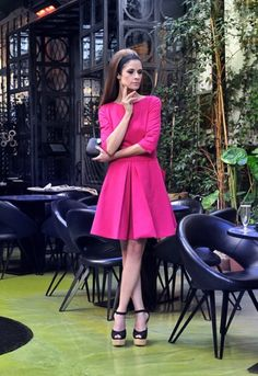 Green Fashion Done Right: Fuchsia dress with full skirt by Henrietta Ludgate, wedge sandals by Mink and clutch by Kayu {yoox.com}