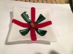 Fused glass Christmas present dish by fusedglassbyjemima on Etsy, $20.00