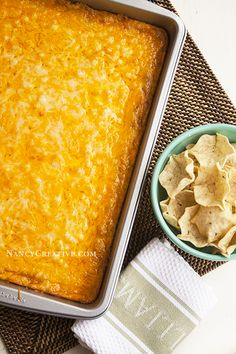 Texas trash warm bean dip - 2 cans refried beans, cream cheese, green chilies, Monterey jack and cheddar cheese.