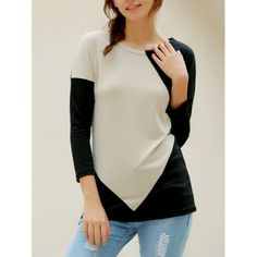 9.91$  Watch now - http://di3zg.justgood.pw/go.php?t=109868304 - Elegant V-Neck Color Block Loose-Fitting Long Sleeve T-Shirt For Women 9.91$