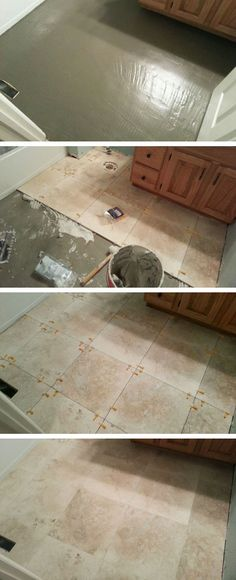 another one of my flooring projects this time laying travertine tile in the bathroom floors