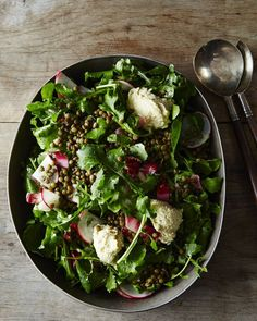 Vegan French Lentil Salad and Arugula Salad with Herbed Cashew Cheese ...