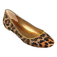 "Nine Wst ""Wayness"" Pony Hair Leopard print Round toe flat with 1/4"" heel."
