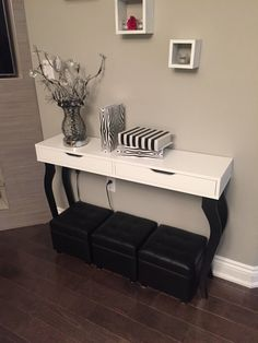 DIY IKEA hack console table: ALEX shelf with drawers and 4 black LALLE legs