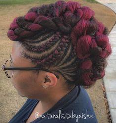 70 Best Black Braided Hairstyles That Turn Heads Twisted Black and Magenta Mohawk Box Braids Hairstyles, Black Hair Hairstyles, Braided Ponytail Hairstyles, Braided Hairstyles For Black Women, Braids For Black Women, Black Braids, Short Hairstyles, Ponytail Haircut, Hairstyles Videos