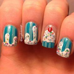 Cupcake nail art ideas Newest Look - Reny styles - Cupcake nail art ideas Newest Look - Reny styles - Cute Nails, Pretty Nails, Hair And Nails, My Nails, Cupcake Nail Art, Natural Gel Nails, Birthday Nails, Birthday Cake, Nagel Gel