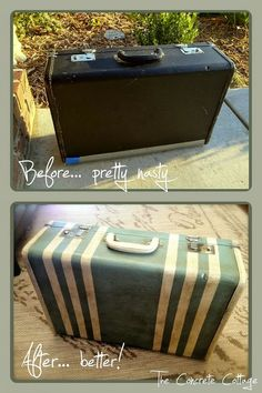 {Thrift Store Suitcase} transformed into a {Striped Stunner!}